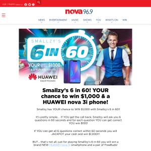 Nova 96 9 - Win $1,000 & a Huawei nova 3i phone - Competitions com au