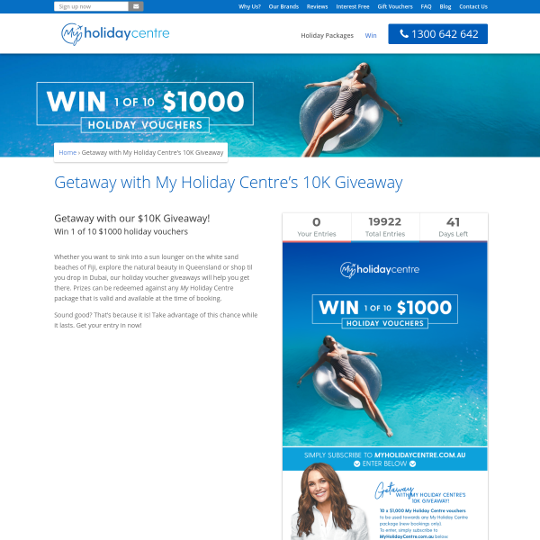 Win 1 of 10 $1000 holiday vouchers