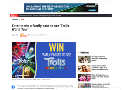 Win 1 of 10 family passes to see Trolls World Tour!