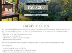 Win 1 of 100 Free Stays at Eden Health Retreat