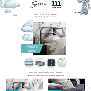 Snooze - Win 1 of 2 complete bedroom packages + 10 throw rugs to be ...