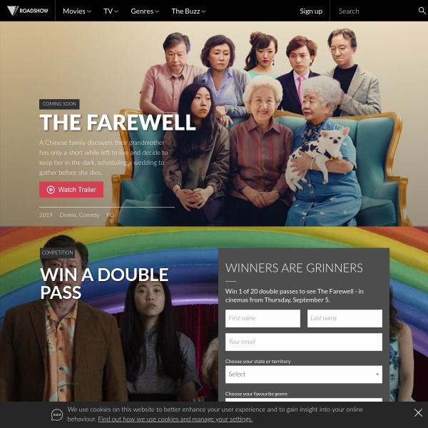 Win 1 of 20 Doubles to 'The Farewell'