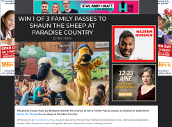 Win 1 of 3 Family Passes to Shaun the Sheep at Paradise Country