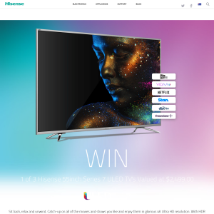 Win 1 of 3 Hisense 55inch Series 7 ULED TV's