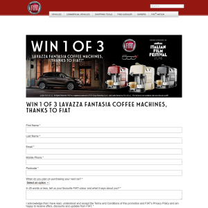 Win 1 of 3 Lavazza 'Fantasia' Coffee Machines!