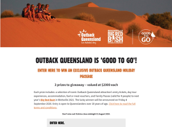 Win 1 of 3 Outback Queensland holiday packages!