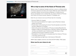 Win 1 of 3 trips to some of the Game of Thrones sets!