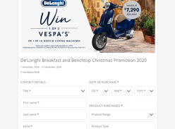 Win 1 of 3 Vespas + 1 of 10 Dedica Coffee Machines!
