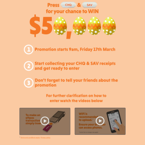 Win 1 of 5 $1,000 eftpos gift cards OR 1 of 450 daily $100 eftpos gift