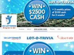 Win 1 of 5 $100 cash prizes and go into the draw to win $2500 major cash prize