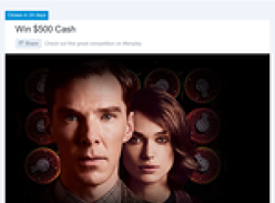 Win 1 of 5 $500 cash prizes & a copy of 'The Imitation Game' on DVD!