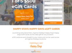 Win 1 of 5 $500 'Happy Stays Happy Days' eGift Cards