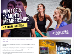 Win 1 of 5 'Anytime Fitness' 12-month memberships!
