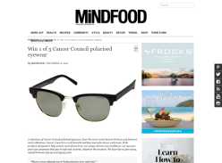Win 1 of 5 'Cancer Council' polarised eyewear!