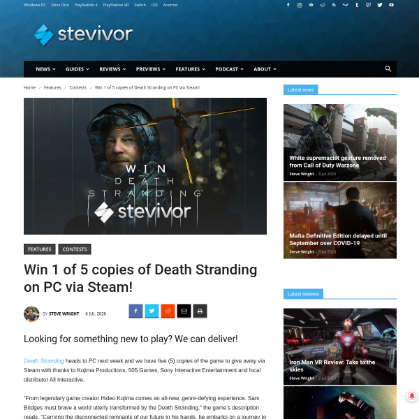 Win 1 of 5 copies of Death Stranding on PC via Steam Each