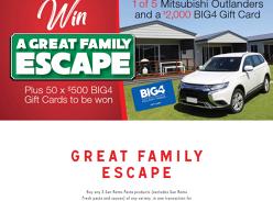 Win 1 of 5 Mitsubishi Outlanders & a Big4 Gift Card!