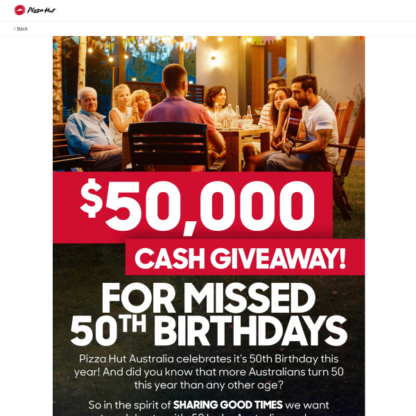Win 1 of 50 $1,000 Prizes!