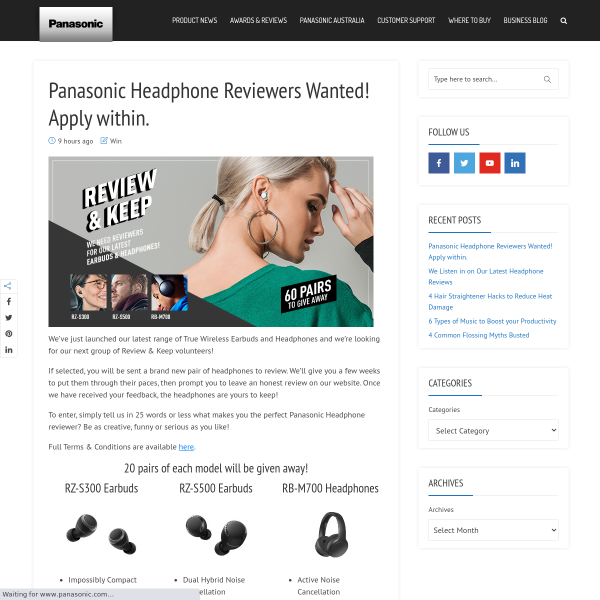 Win 1 of 60 Pairs of Panasonic Headphones/Earbuds Up to
