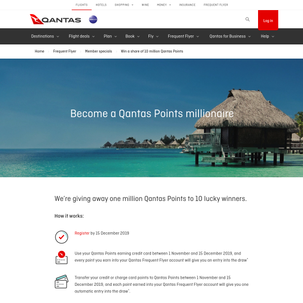 Win 10 x 1 Million Qantas Points