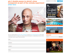 Win 2 double passes to akmal's show transparent as part of the comedy experiment