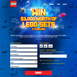 Win $3,000 worth of LEGO sets
