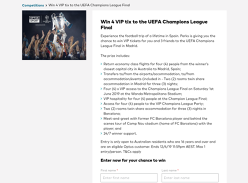 Win 4 VIP tix to the UEFA Champions League Final!