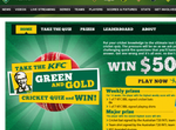 Win $5,000 cash & a cricket prize pack + weekly prize packs to be won!
