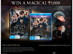 Win $5,000 cash or 1 of 20 copies of 'Fantastic Beasts & Where To Find Them' on DVD!