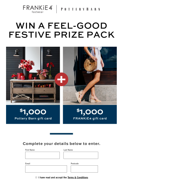 Williams Sonoma Win A 1 000 Pottery Barn 1 000 Frankie4 Gift Card Competitions Com Au