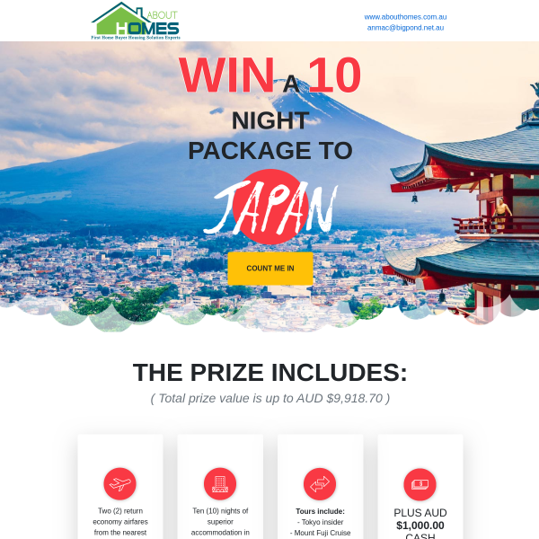 Win a 10-night trip in Japan + $1,000 spending money!