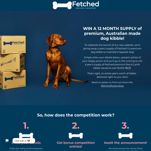 Win a 12 Month Supply of Fetched Premium Roo & Lamb Kibble