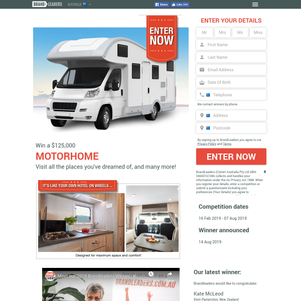 Brand Leaders - Win a $125,000 MOTORHOME - Competitions com au