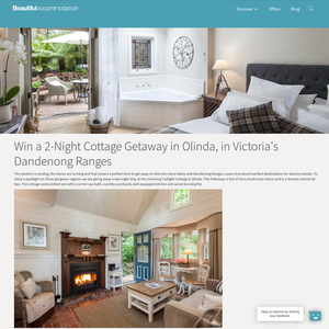 Win a 2-Night Cottage Getaway in Olinda, in Victoria's Dandenong Ranges