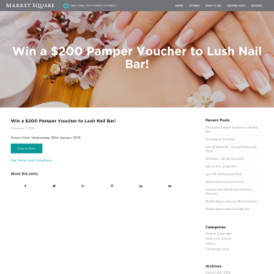 Market Square - Win a $200 Pamper Voucher to Lush Nail Bar