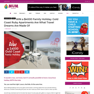 Mum Central - Win a $4000 Gold Coast Family Holiday