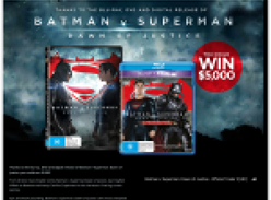 Win a $5,000 VISA gift card or 1 of 20 copies of 'Batman vs Superman' on DVD!