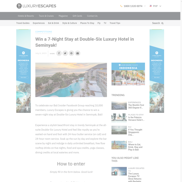 Win a 5-Star Bali Escape