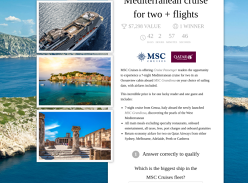 Win a 7-night Mediterranean cruise for two + flights