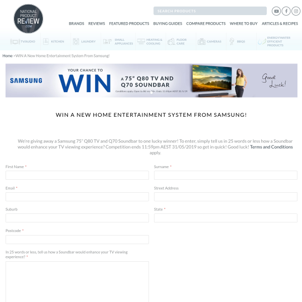 National Product Review - Win a 75-Inch Samsung TV