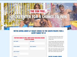 Win a 9 night cruise to South Pacific for 4!
