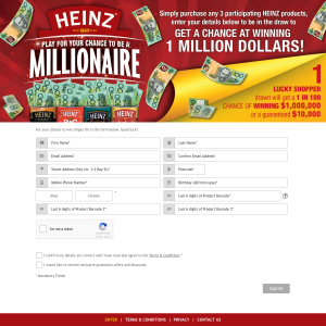 HEINZ - Win a chance at a million dollars! (Purchase Required