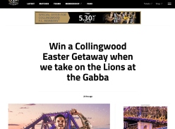 Win a Collingwood Easter Getaway to Brisbane for 2