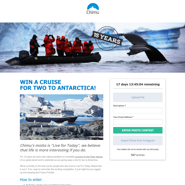 Win a Cruise for 2 to Antartica!