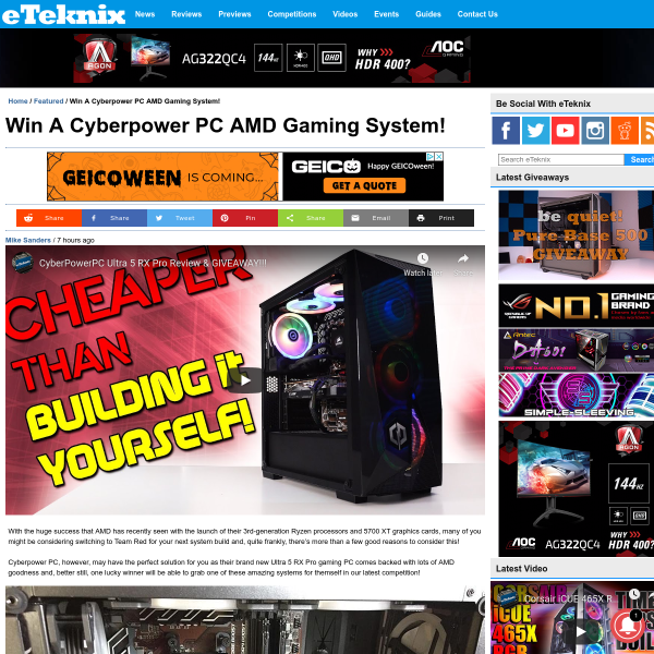 Win a CyberPowerPC Ultra 5 RX Pro Gaming PC