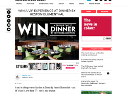 Win a 'Dinner by Heston Blumenthal' VIP Experience for 2 in Melbourne