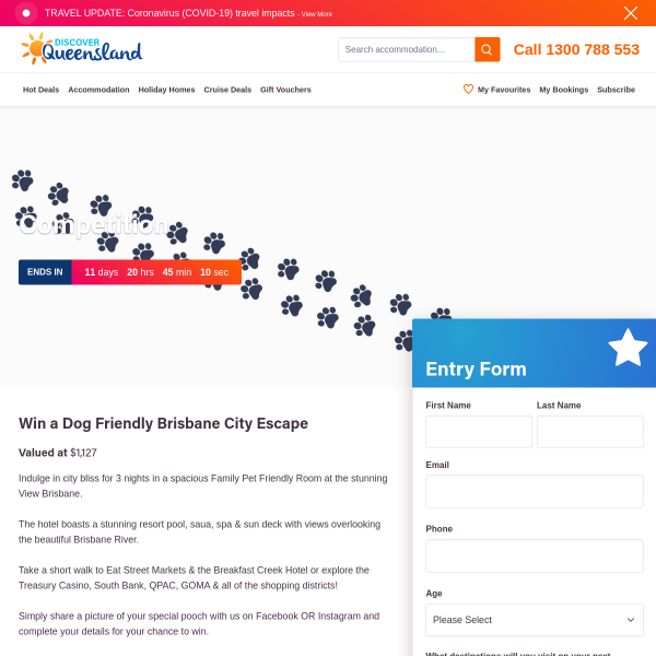 Win a Dog Friendly Brisbane City Escape!