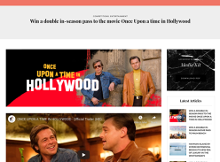 Win a Double In-Season Pass to the Movie Once Upon a Time in Hollywood