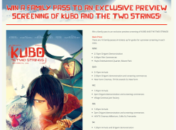 Win a family pass to an exclusive preview screening of 'Kubo & the Two Strings'!