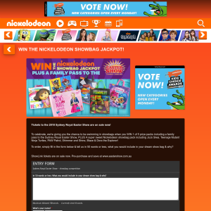Win a family pass to the Sydney Royal Easter show & a Nickelodeon showbag pack