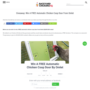 Win A FREE Automatic Chicken Coop Door Omlet